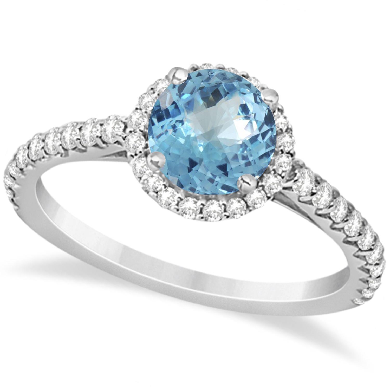 Halo Blue Topaz & Diamond Engagement Ring  14K White Gold 1.86ct
