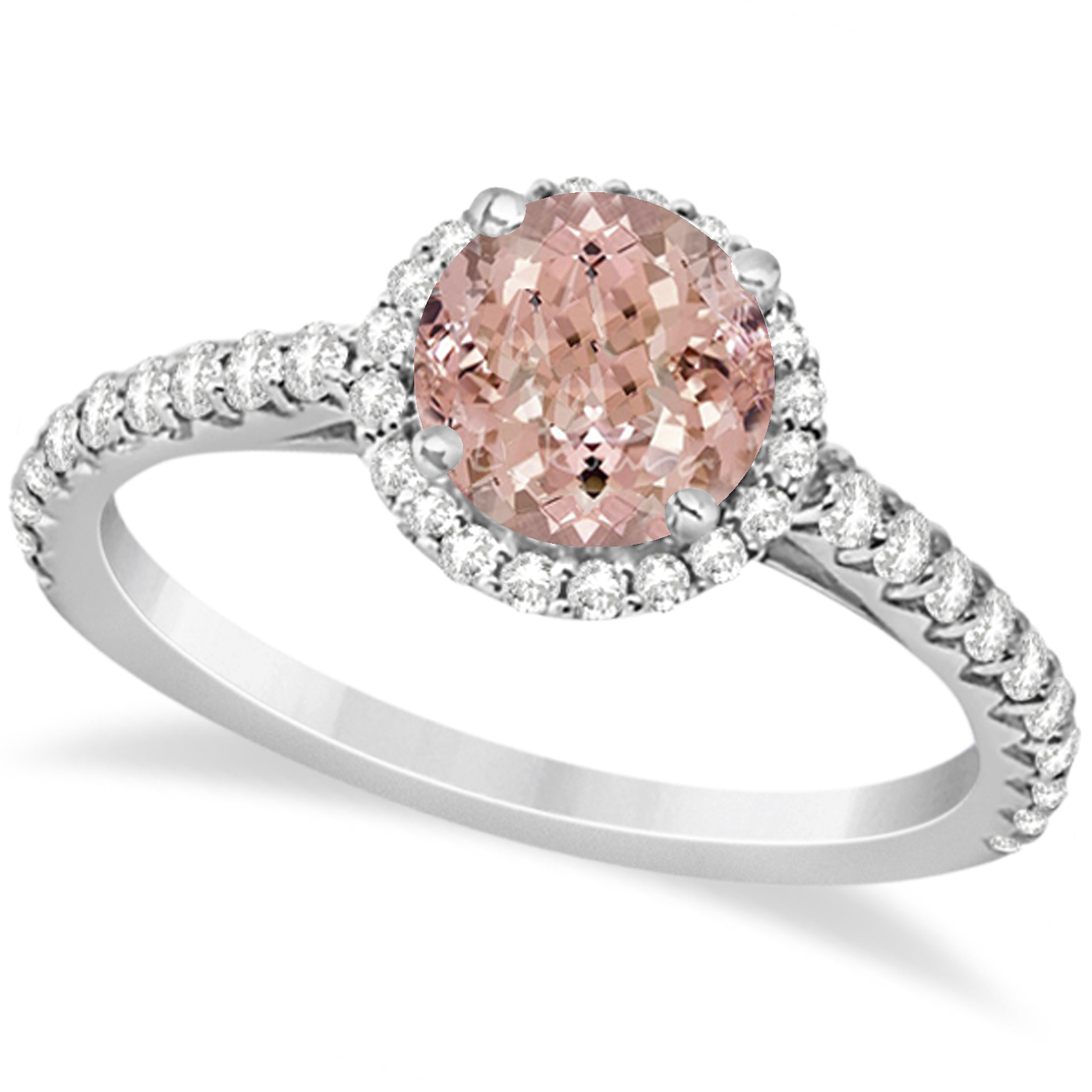 halo morganite engagement ring 14k white gold 1 60ct