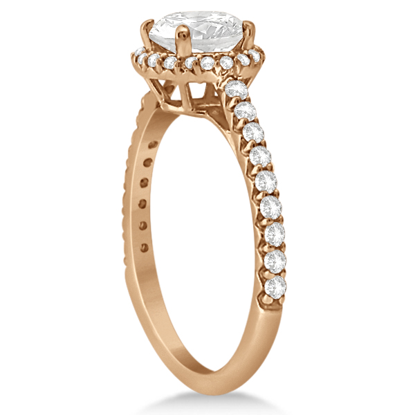 Halo Moissanite Engagement Ring Diamond Accents 14K Rose Gold 1.50ct