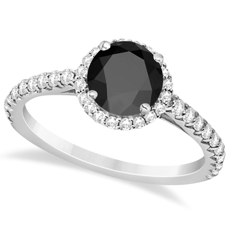 Halo Black Onyx & Diamond Engagement Ring 14k White Gold (1.50ct)