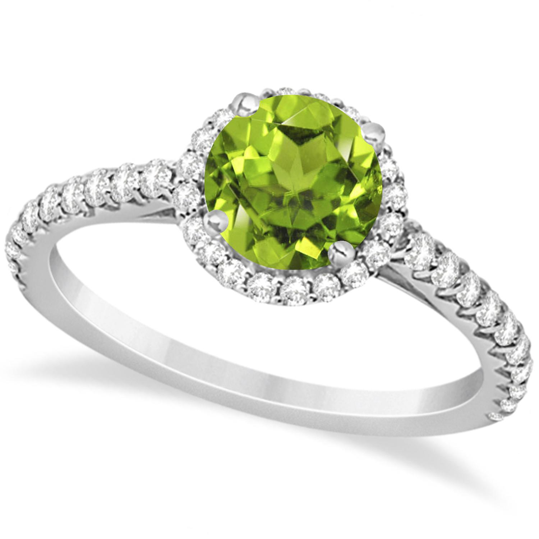 Halo Peridot & Diamond Engagement Ring  14K White Gold 1.61ct
