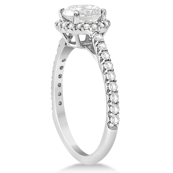 Halo Diamond Engagement Ring with Side Stone Accents Palladium 1.50ct