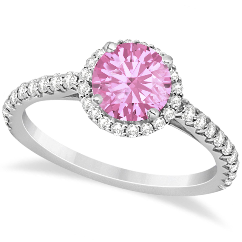 Halo Pink Tourmaline & Diamond Engagement Ring  14K White Gold 1.78ct