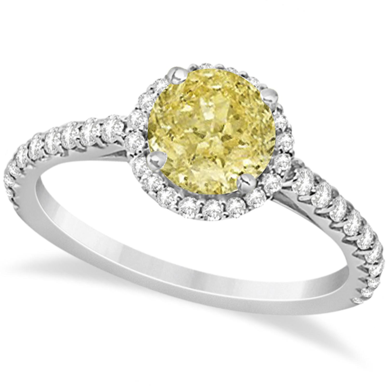 Halo Yellow Diamond & Diamond Engagement Ring  14K White Gold 1.50ct