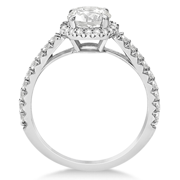 Halo Moissanite Engagement Ring Diamond Accents 18k White Gold 2.50ct