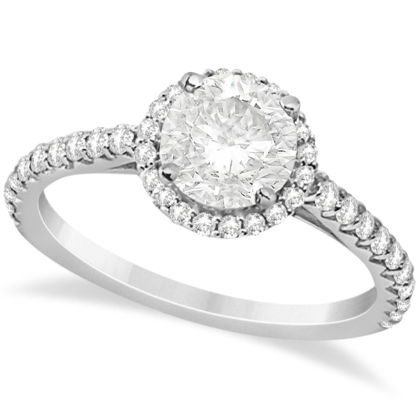 Halo Diamond Engagement Ring w/ Side Stone Accents Platinum 1.00ct