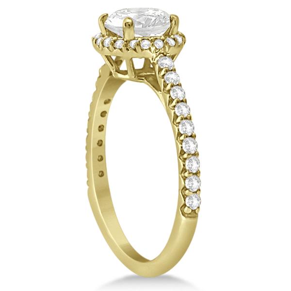 Halo Diamond Engagement Ring w/ Side Stones 18k Yellow Gold (1.25ct)