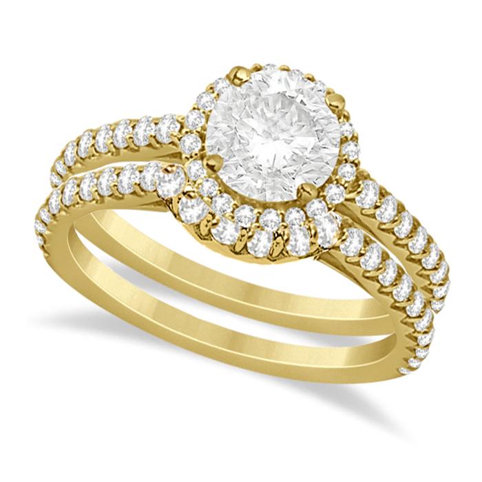 Halo Diamond Bridal Set w/ Side Stones 18K Yellow Gold (1.58ct)