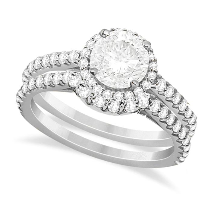 Halo Diamond Bridal Set w/ Side Stones Palladium (1.58ct)