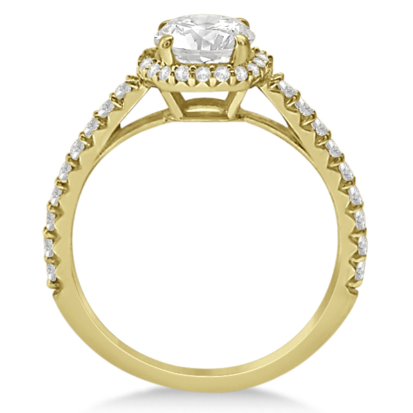 Halo Moissanite Engagement Ring Diamond Accents 18k Yellow Gold 1.25ct