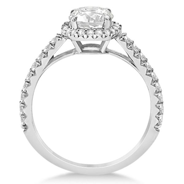 Halo Diamond Engagement Ring w/ Side Stones Palladium (1.25ct)