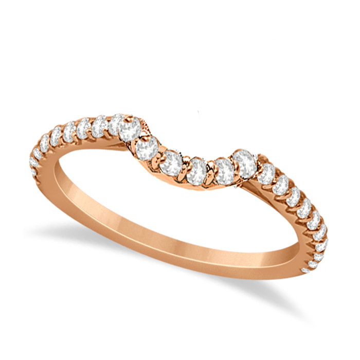Contoured Diamond Accented Wedding Band 14k Rose Gold (0.33ct)