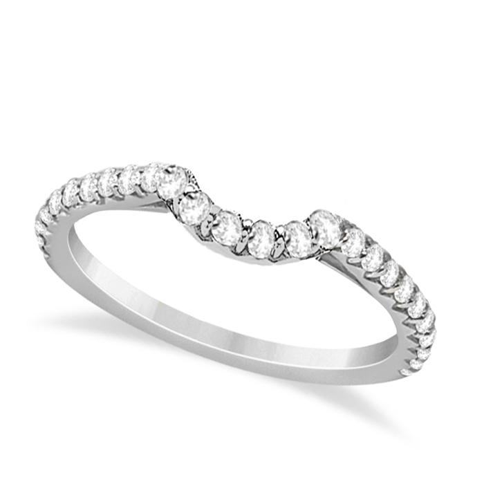 Contoured Diamond Accented Wedding Band 14k White Gold (0.33ct)