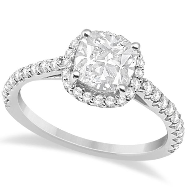 Halo Design Cushion Cut Diamond Engagement Ring 18K White Gold 0.88ct