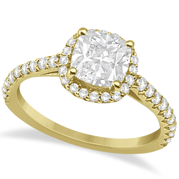 Halo Design Cushion Cut Diamond Engagement Ring 18K Yellow Gold 0.88ct