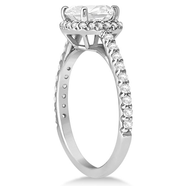 Halo Design Cushion Cut Diamond Engagement Ring in Platinum 0.88ct