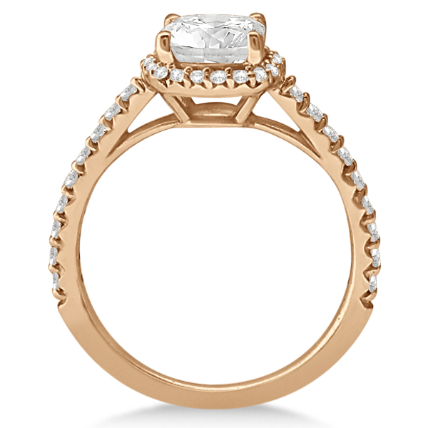 Diamond Halo Cushion Cut Moissanite Engagement Ring 14K R. Gold 0.88ct