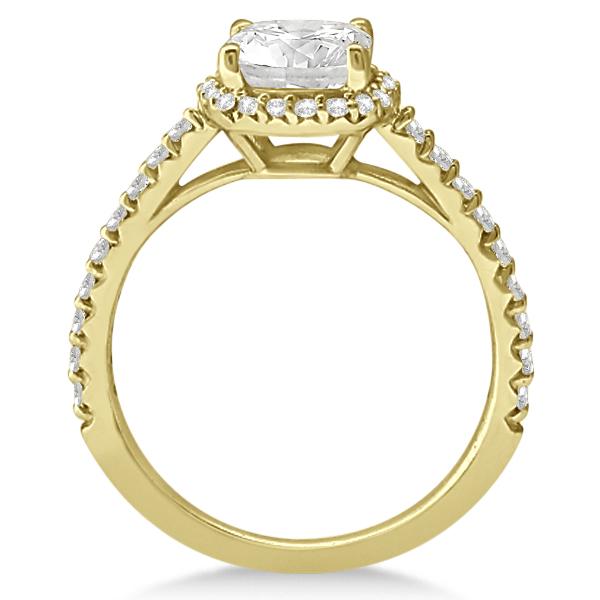 Diamond Halo Cushion Cut Moissanite Engagement Ring 14K Y. Gold 0.88ct