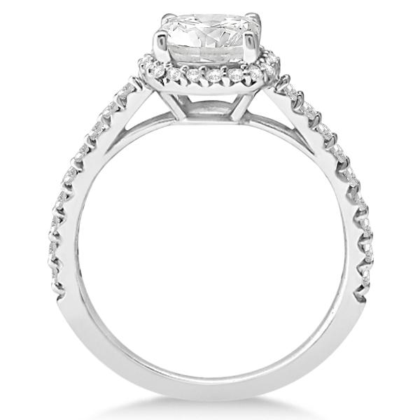 Diamond Halo Cushion Cut Moissanite Engagement Ring 18K W. Gold 0.88ct