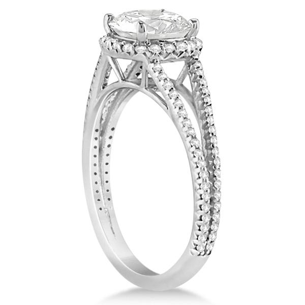Split Band Cushion Cut Diamond Engagement Ring Halo 14K W. Gold 1.84ct