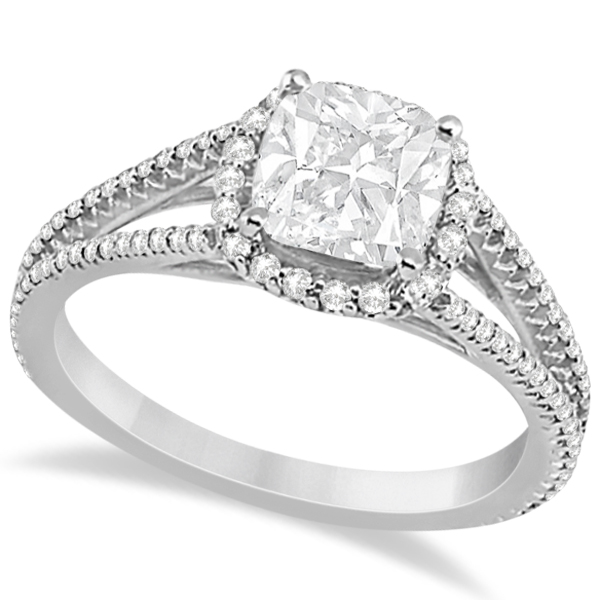 Cushion Cut Moissanite Engagement Ring Diamond Halo 18K W. Gold 1.84ct