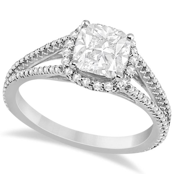 Cushion Cut Moissanite Engagement Ring Diamond Halo Palladium 1 84ct