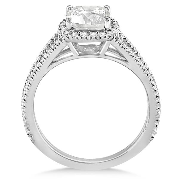 Split Shank Cushion Cut Diamond Engagement Ring Halo Platinum 1 84ct