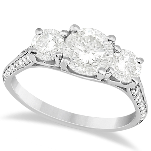 3 Stone Diamond Engagement Ring With Side Stones 14k White Gold 2ct U5011