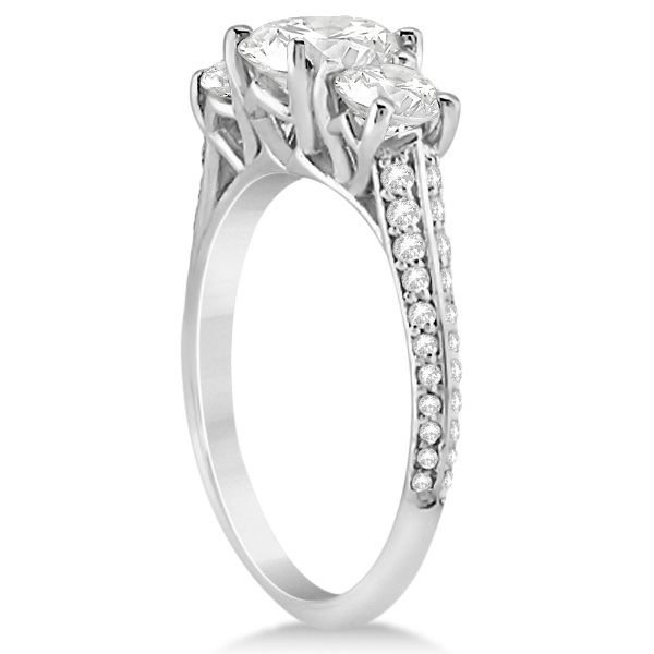3 Stone Moissanite Engagement Ring w/ Diamonds 18K White Gold 2.00ct