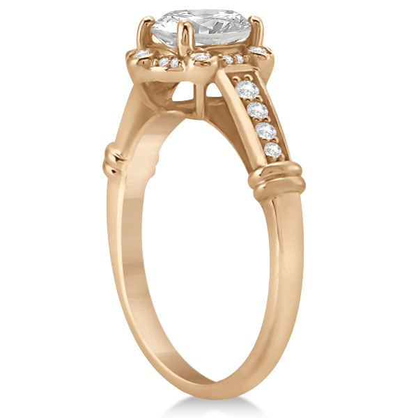 Floral Halo Diamond Engagement Ring w/ Accents 14K Pink Gold 0.17ct