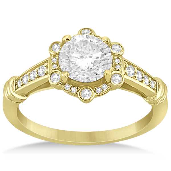 Floral Halo Diamond Engagement Ring w/ Accents 14K Yellow Gold 0.17ct