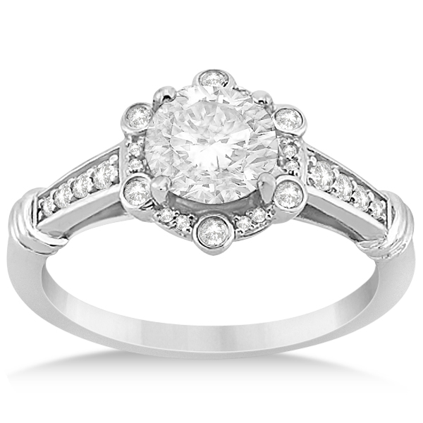 Floral Halo Diamond Engagement Ring w/ Accents in Platinum 0.17ct