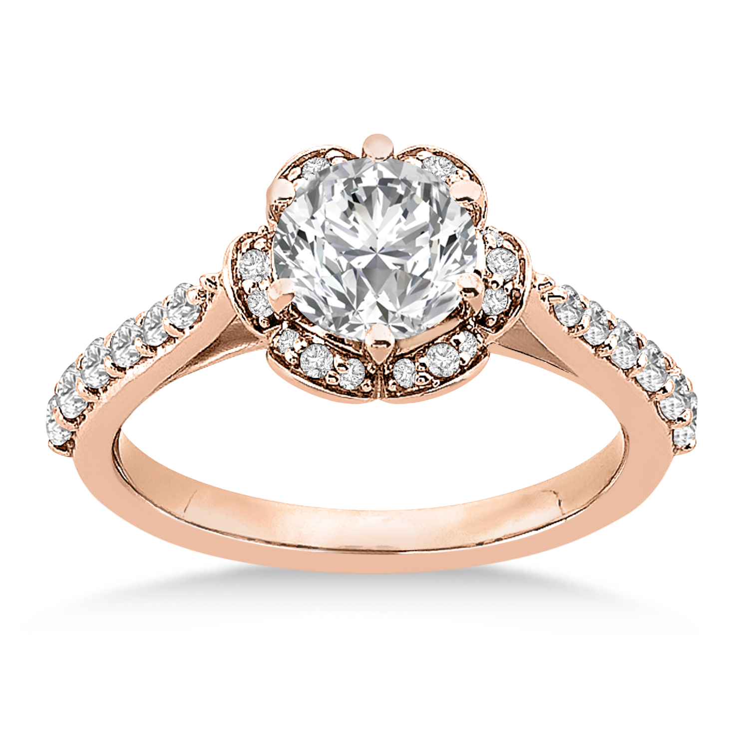Diamond Sidestone-Accented Engagement Ring 18k Rose Gold (0.36ct)