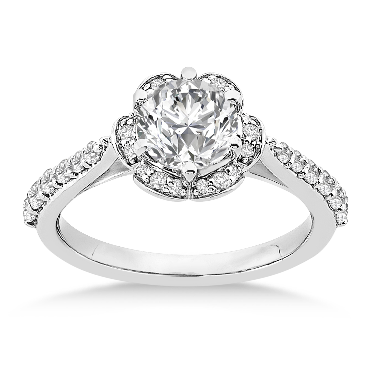 Diamond Sidestone-Accented Engagement Ring 18k White Gold (0.36ct)