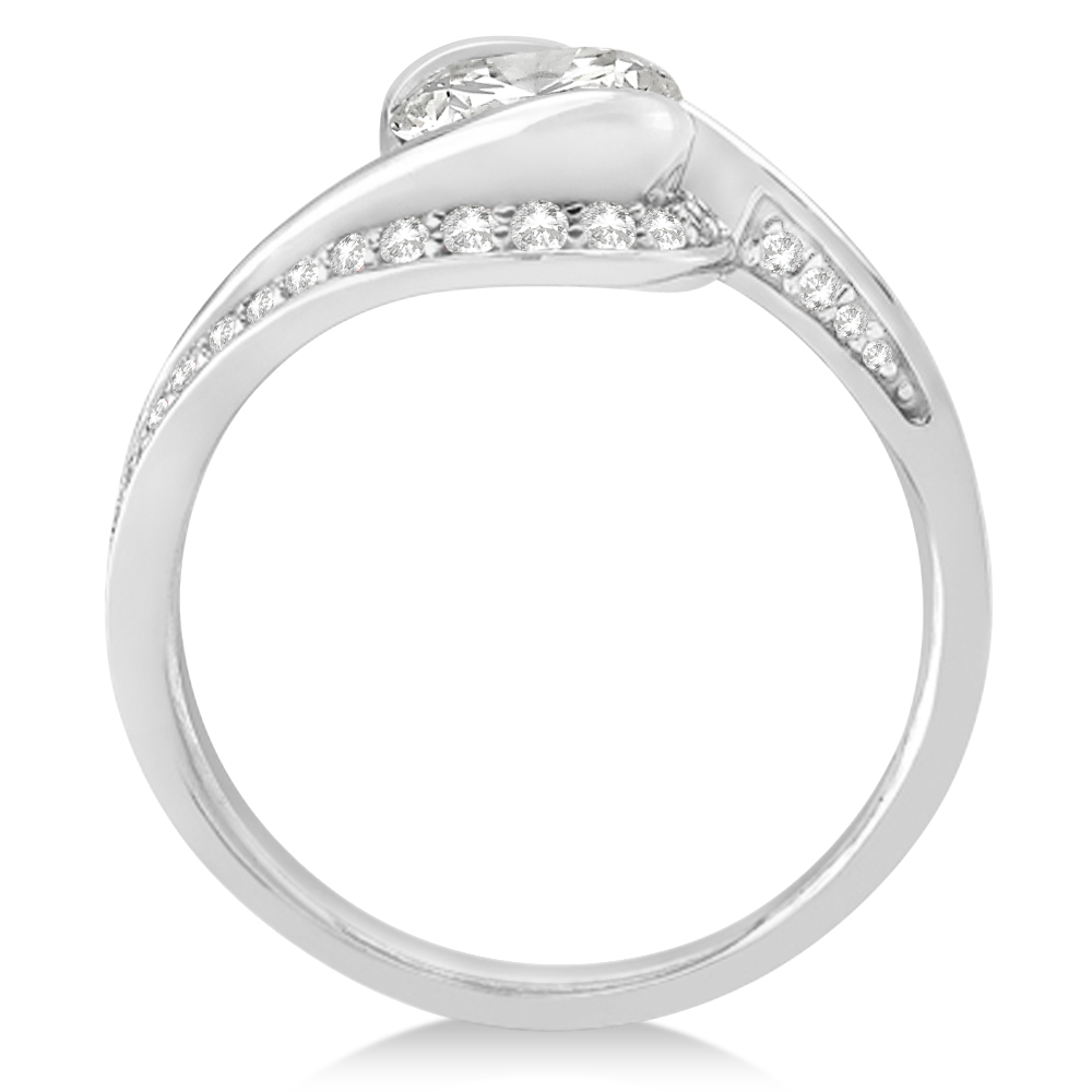 Diamond Accented Swirl Engagement Ring Setting 14k White Gold (0.30ct)