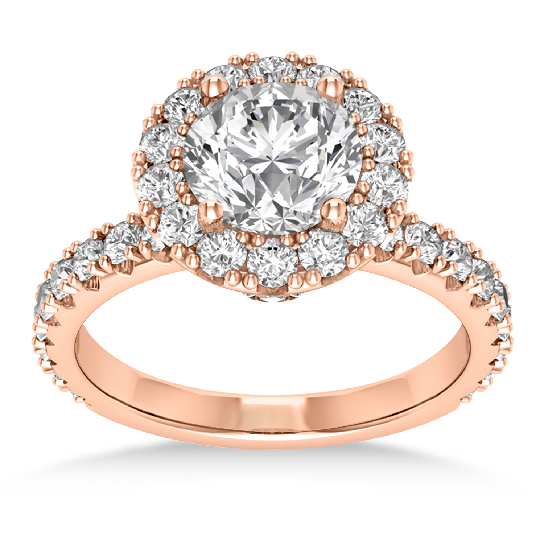 Diamond Halo Engagement Ring 14k Rose Gold (0.90ct)