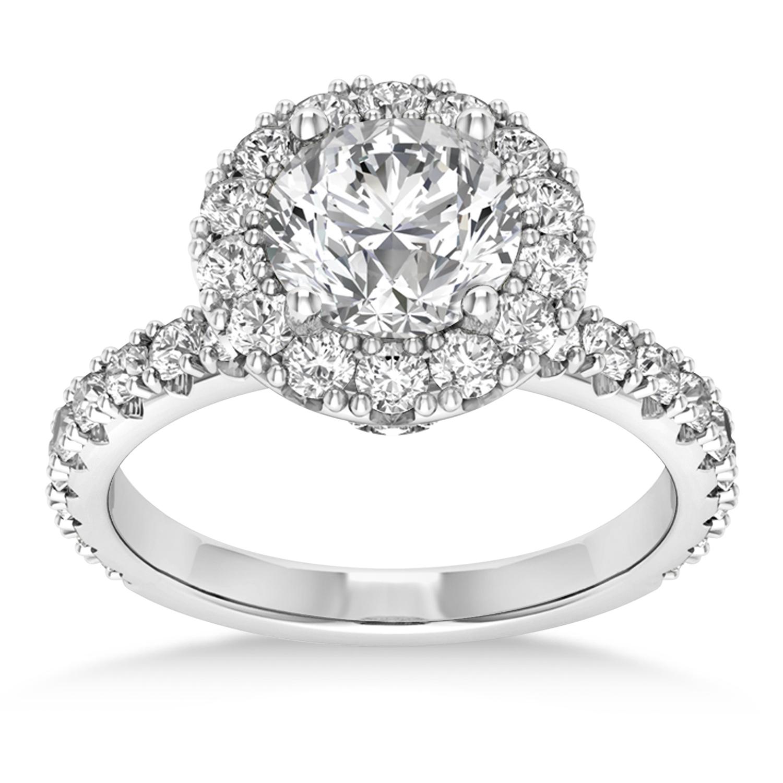 Diamond Halo Engagement Ring 18k White Gold (0.90ct)