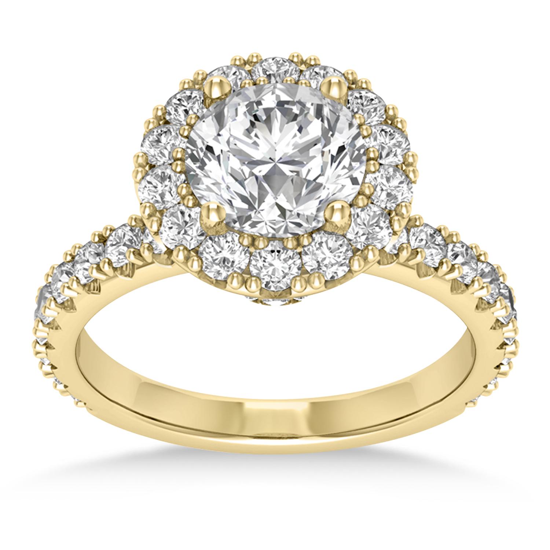 Diamond Halo Engagement Ring 18k Yellow Gold (0.90ct)