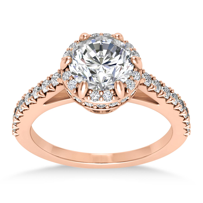 Diamond Sidestones Engagement Ring 14k Rose Gold (0.44ct)
