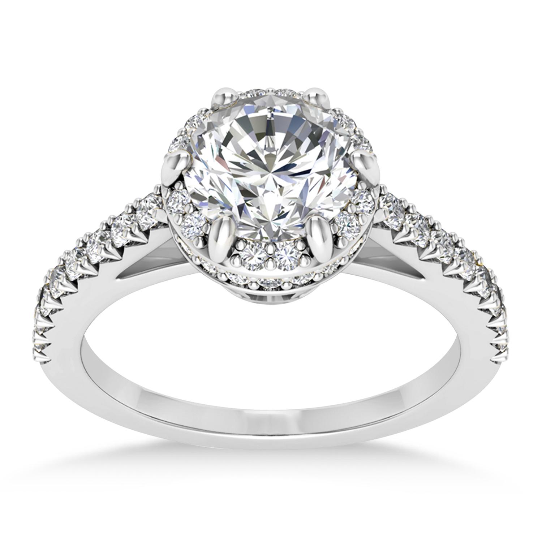 Diamond Sidestones Engagement Ring 14k White Gold (0.44ct)