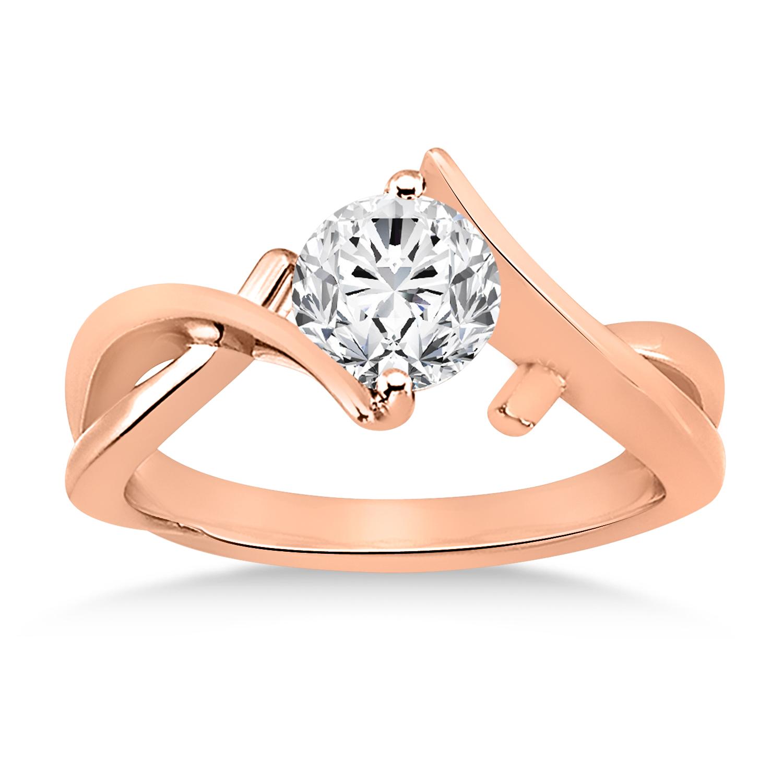 Diamond Twisted Engagement Ring 14k Rose Gold