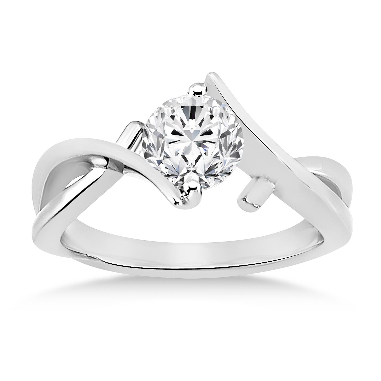 Diamond Twisted Engagement Ring 14k White Gold
