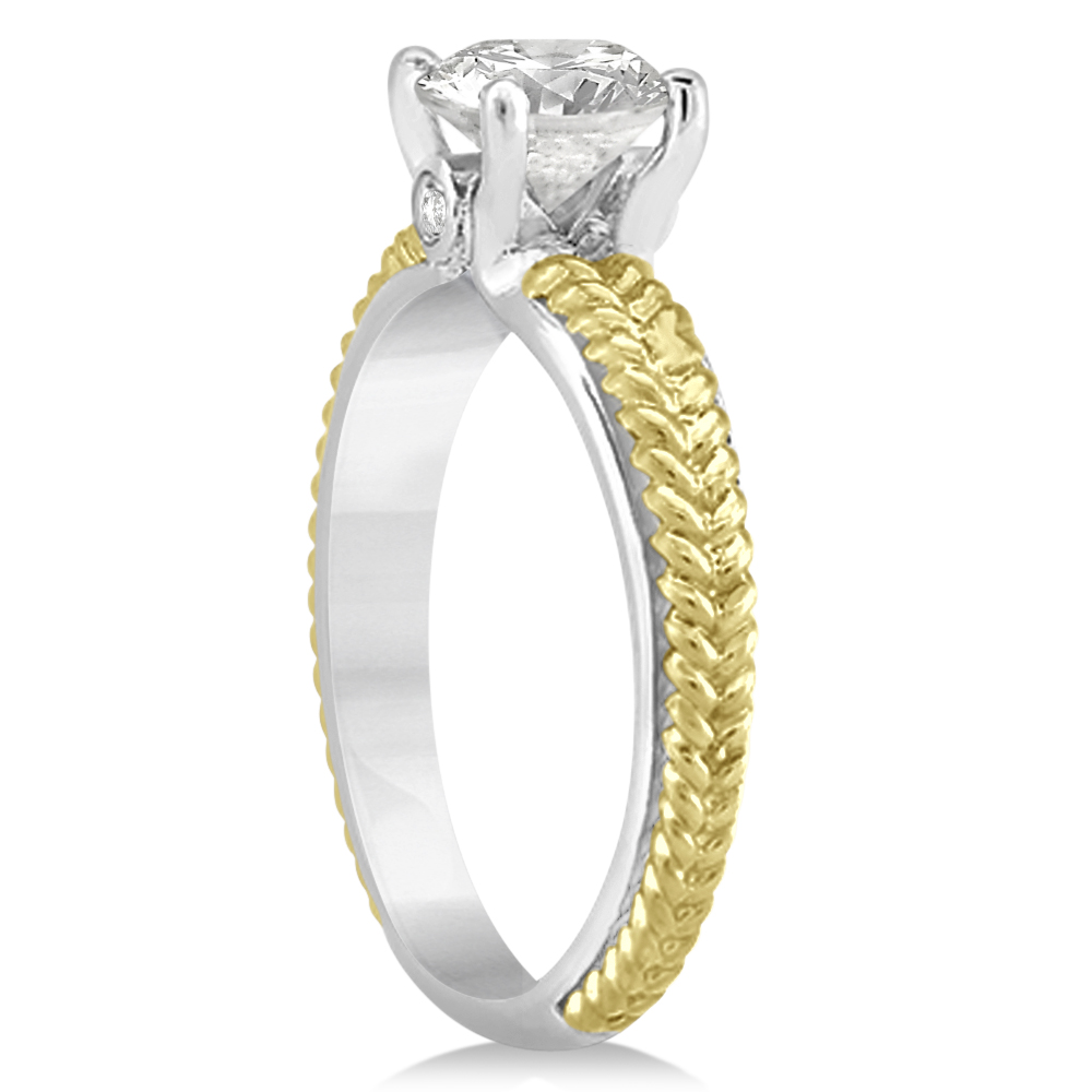 Diamond Engagement Ring Setting 14k Two Tone Braided Gold (003ct)