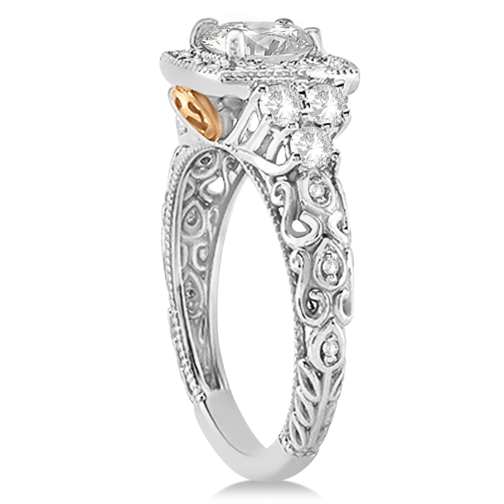 Diamond Heirloom Halo Engagement Ring Setting 14k Two Tone Gold 0.57ct