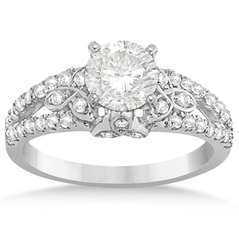 Diamond Celtic Engagement Ring Setting 14k White Gold (0.39ct)