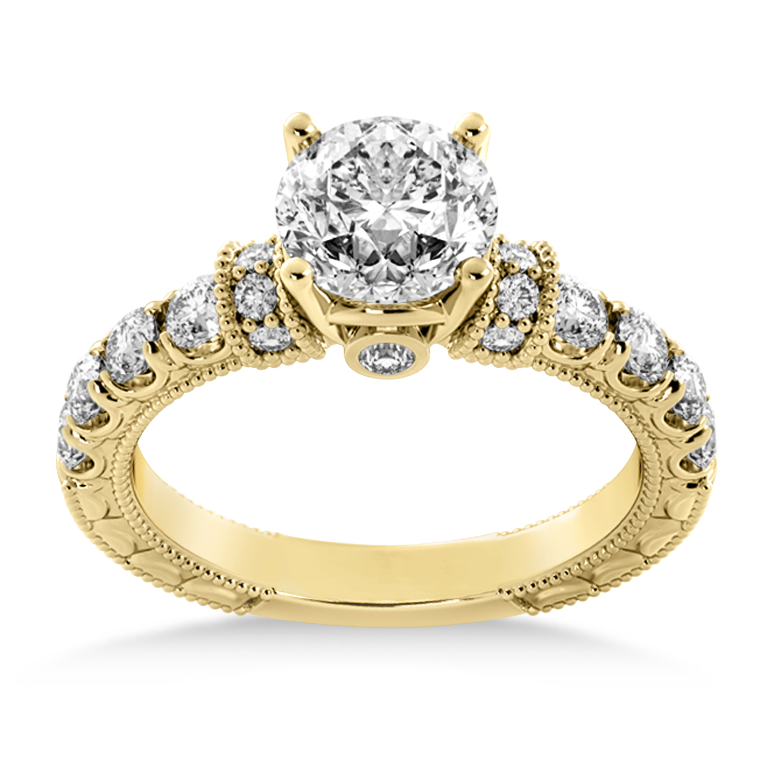 Diamond Vintage Style Engagement Ring 14k Yellow Gold (0.52ct)