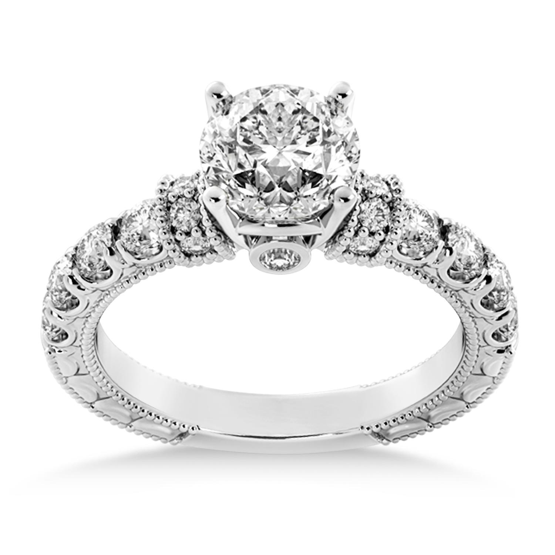 Diamond Vintage Style Engagement Ring 18k White Gold (0.52ct)