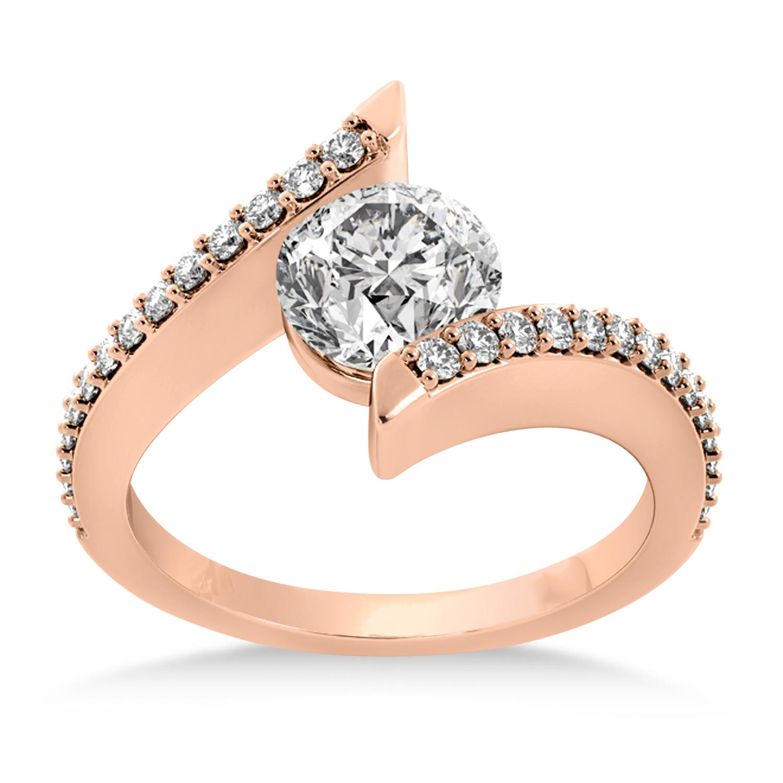 Diamond Bypass Tension Set Engagement Ring 18k Rose Gold (0.28ct)