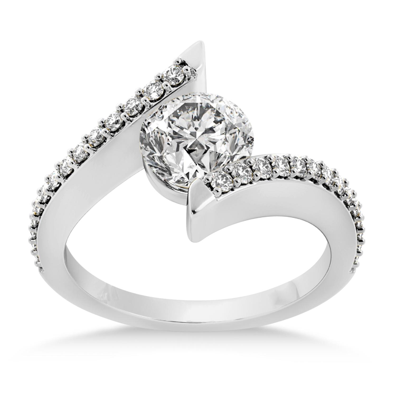 Diamond Bypass Tension Set Engagement Ring 18k White Gold (0.28ct)