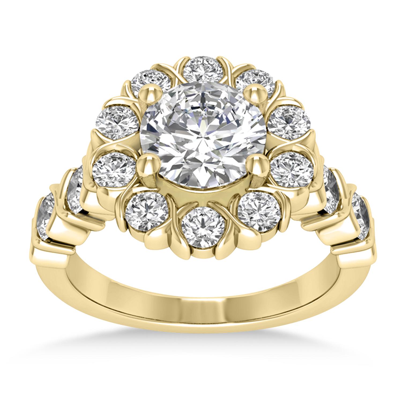 Diamond Petal Styled Engagement Ring 14k Yellow Gold (1.00ct)